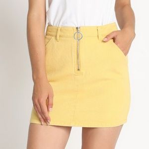 Yellow Denim Mini Skirt